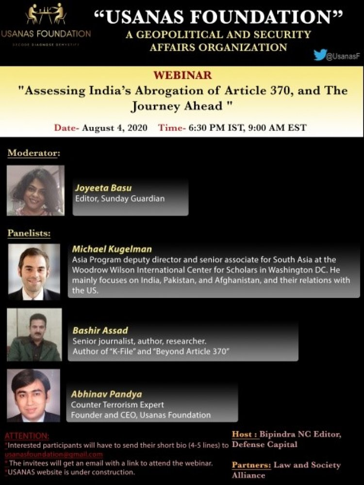 Webinar: Assessing India's Abrogation of Article 370 and The Journey Ahead