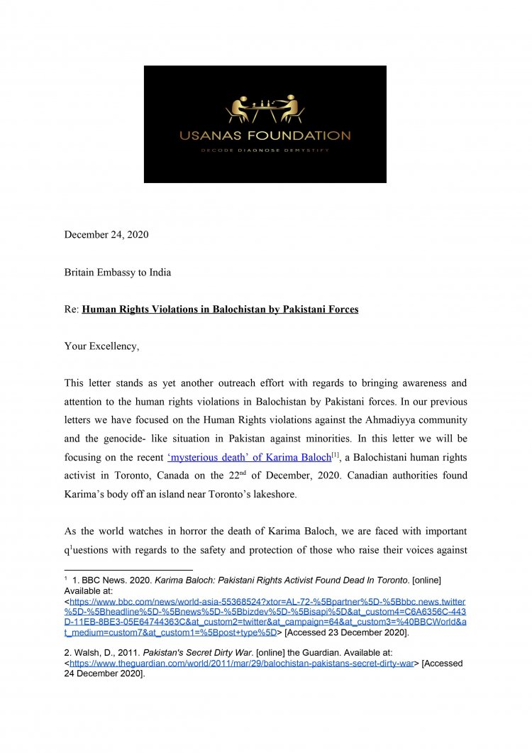 Usanas Foundation's Petitions to International Organizations on the killing of Baluch and Pashtun activists and dissidents in Canada and Sweden